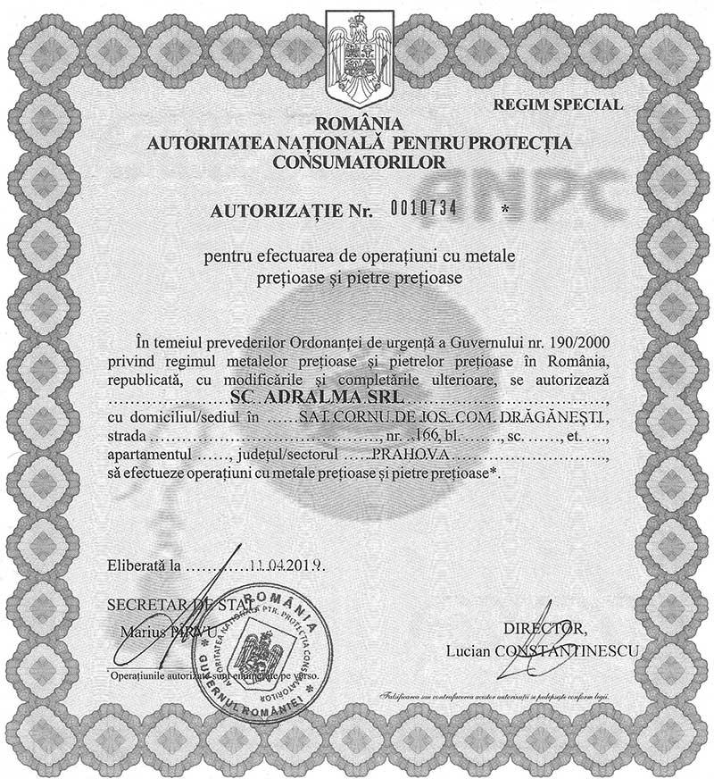 Autorizatie pentru efectuarea de operatiuni cu metale pretioase si pietre pretioase