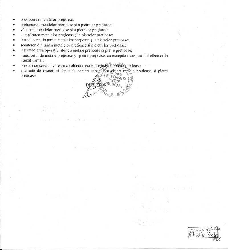 Autorizatie pentru efectuarea de operatiuni cu metale pretioase si pietre pretioase verso
