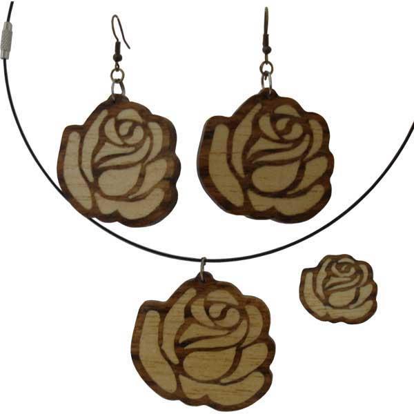 Set bijuterii din lemn model trandafir