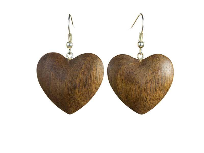 Cercei din lemn Inimioare 3D nuc