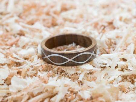 Inel din lemn Infinity Metal